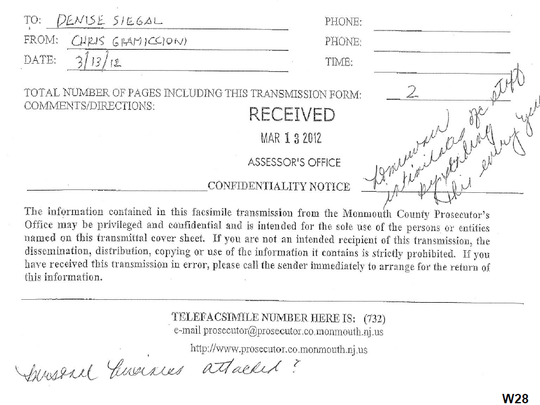 Notes on a fax from acting Monmouth County Prosecutor