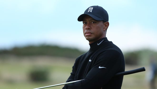 Tiger Woods of the United States looks on from the 11th hole during the second round of the 144th Open Championship at The Old Course on July 17, 2015 in St Andrews, Scotland. (Photo by Andrew Redington/Getty Images)