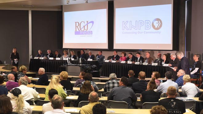 The mayoral candidates participate in a RGJ-KNPB debate at UNR.