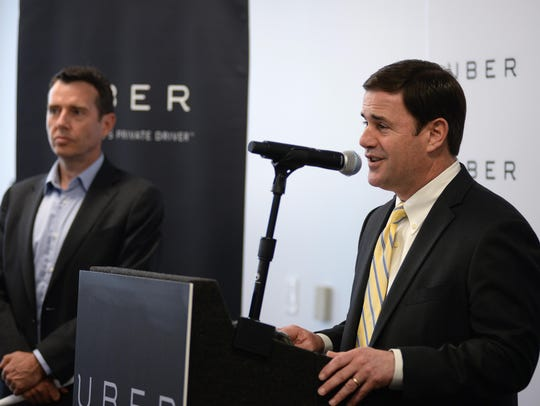 Gov. Doug Ducey speaks at the official opening of Uber's