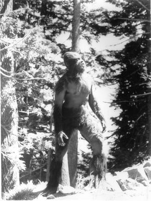 "The ""Manbeast"" surveys the forest in a scene from the 1983 film ""Manbeast! Myth or Monster,"" which simulated reported sightings of the Abominable Snowman or Bigfoot. In the '70s and '80s."