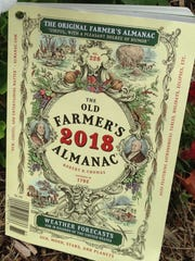 This Aug. 29, 2017 photo shows the cover of the 2018 edition of The Old Farmer's Almanac in Concord, N.H, The annual almanac,  which claims an 80 percent accuracy rate in its forecasts, predicted the possibility of a major hurricane along the Atlantic Seaboard, but didn't have the same insight about the Gulf Coast. The 226th edition comes out Tuesday, Sept 12.  Credit: The Old Farmer's Almanac via AP