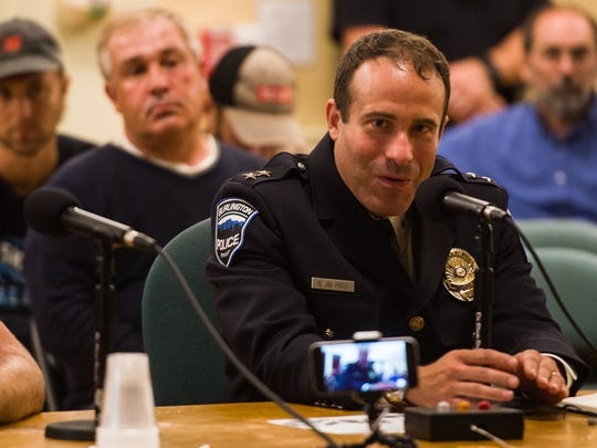 Police Chief Brandon del Pozo address the Burlington