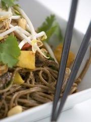A soba noodle and pulled pork salad