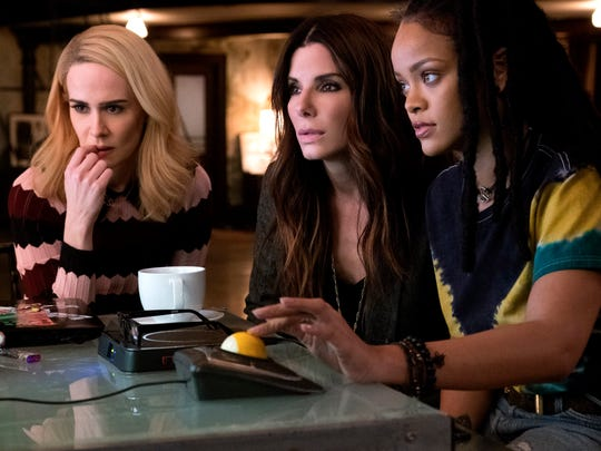 Sarah Paulson (left), Sandra Bullock and Rihanna star