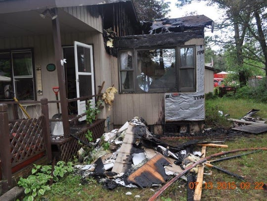 No one was home at the time of the fire, which was