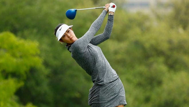 Michelle Wie watches her tee shot on the third hole during the second round of the Volunteers of America Texas Shootout in April.