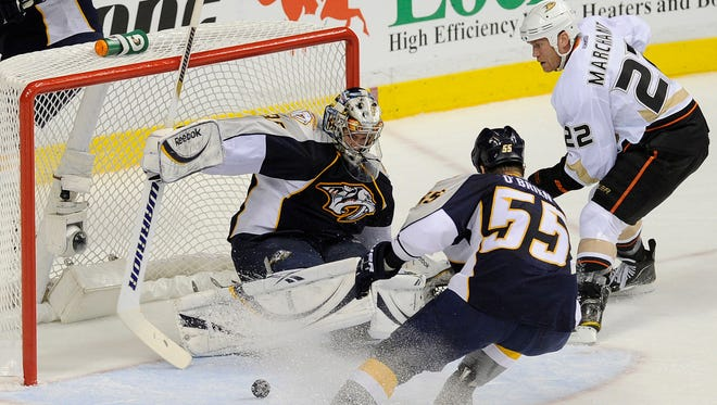 Nashville Predators goalie Pekka Rinne (35) makes a save in the Western Conference quarterfinal series against the Anaheim Ducks on April 17, 2011.