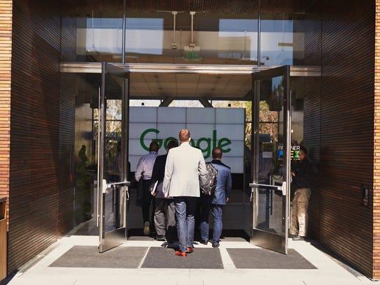 People enter a Google facility in California's Silicon