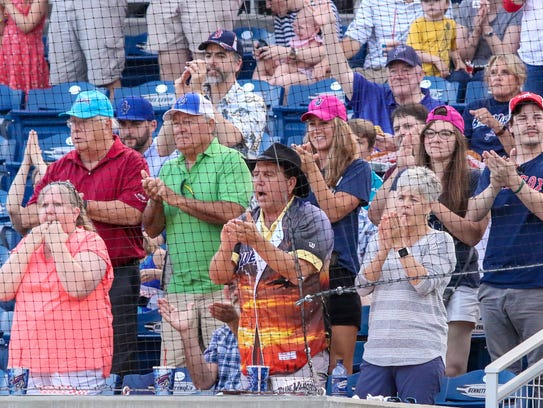 Blue Wahoos fans cheer on Aristides Aquino after he
