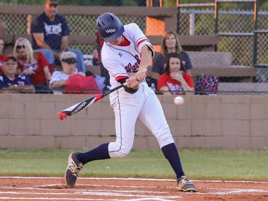 Wakulla's Brad Lord bats during a Region 1-6A quarterfinal at Gulf Breeze last May. Lord threw a five-inning no-hitter against Chiles in his first outing of the 2018 season.