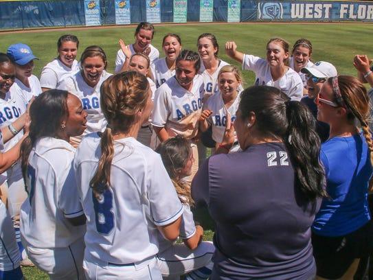 West Florida's softball team celebrates their victory