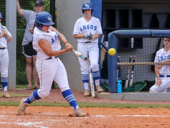 West Florida's Jacey Castro (4) hits a single into