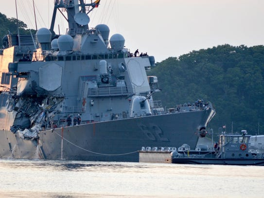 The Navy says it is filing negligent homicide charges against the commanders of two ships involved in fatal collisions last year, including the destroyer USS Fitzgerald. The charges are to be presented at what the military calls an Article 32 hearing, which will determine whether the accused are court martialed.