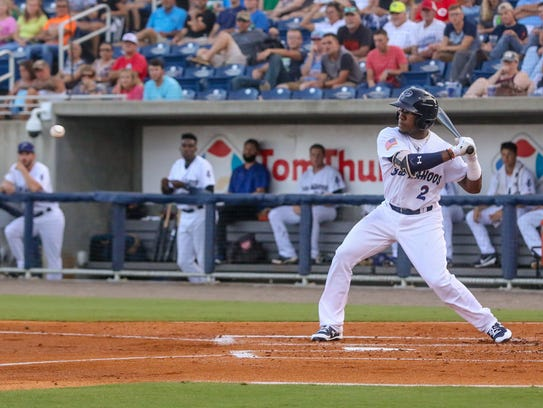 The Blue Wahoos' Shed Long, shown in earlier game,