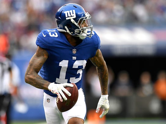 New York Giants wide receiver Odell Beckham #13 rushing