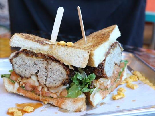 Cap n' Crunch burger garnish with pieces of Cap'n Crunch