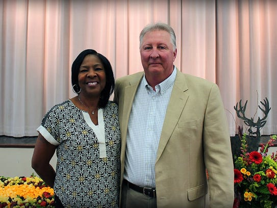 Guest Carolyn Landrum poses with retired DeSoto Parish