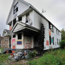 The Birthday House in the Heidelberg Project area was burned inside.