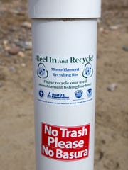 A monfilament recycling bin is pictured Jan. 12 at Navajo Lake State Park. Park Superintendent Christopher Smith has led a charge to get more anglers to recycle their fishing line.