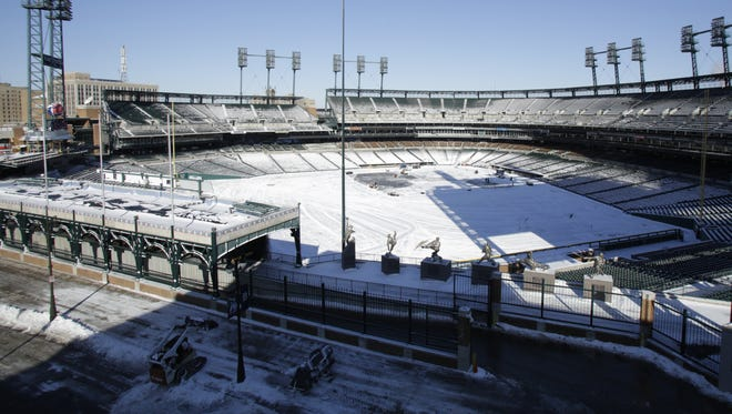 Comerica Park in March 2014. Though 2016 Opening Day here won't have much snow (if any), it'll still be quite cold.