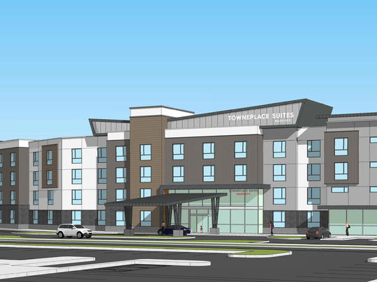 A rendering shows Townplace Suites, a proposed Oxnard hotel near Highway 101.