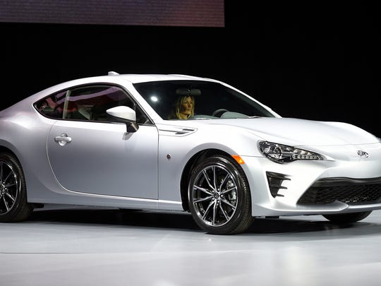 The Toyota 86 sports car is unveiled at the New York International Auto Show on March 23, 2016. Toyota press conference --    Photo by Robert Deutsch, USA TODAY staff
