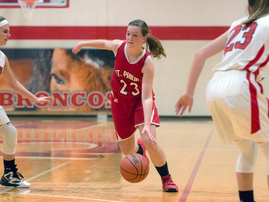 St. Philip's Kirstin Finnila drives the basket Friday