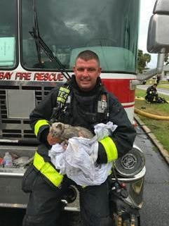"Driver-engineer Jacob Cotoure holds ""Smokey"" the kitten after a dramatic rescue from a Palm Bay house fire."
