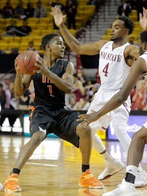 UTEP point guard Dominic Artis works against New Mexico State in the Miners' recent loss in Las Cruces. The rematch is Saturday in El Paso.