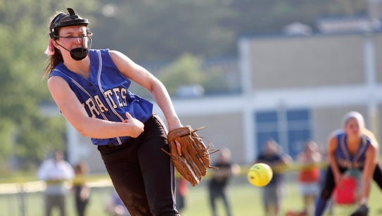 Pearl River pitcher Emily Turilli (23) delivers a pitch
