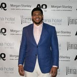 La'el Collins of LSU attends the Athletes Quarterly/Morgan Stanley Global Sports&Entertainment Welcome to Pro Football event at the Vertigo Sky Lounge of the Dana Hotel on Tuesday in Chicago.