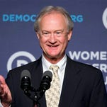 Former Rhode Island Gov. Lincoln Chafee says he will no longer seeks the presidential nomination while speaking at the Democratic National Committee 22nd Annual Women's Leadership Forum National Issues Conference in Washington, Friday, Oct. 23, 2015. (AP Photo/Jacquelyn Martin)