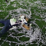 New England Patriots running back Shane Vereen (34) celebrates after an NFL Super Bowl XLIX football game against the Seattle Seahawks Sunday, Feb. 1, 2015, in Glendale, Ariz. The Patriots won the game 28-24. (AP Photo/Ben Margot)