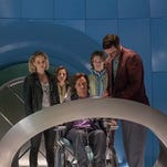 """In this image released by Twentieth Century Fox,  Jennifer Lawrence, from left, Rose Byrne, James McAvoy, Lucas Till and Nicholas Hoult appear in a scene from, """"X-Men: Apocalypse."""""""