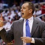 Indiana Pacers coach Frank Vogel yells instructions during the second half in Game 6 of an Eastern Conference semifinal NBA basketball playoff series against the Washington Wizards in Washington, Thursday, May 15, 2014. (AP Photo/Alex Brandon)