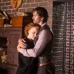 "This image released by Lifetime shows, Lauren Ambrose, left, and Wes Ramsey in a scene from ""Deliverance Creek."" Nicholas Sparks is executive producer of the new TV movie, premiering Saturday, Sept. 13, 2014, on Lifetime (8 p.m. EDT). He says television seemed a natural progression because 10 his novels, including The Notebook, have been or are in production for films."