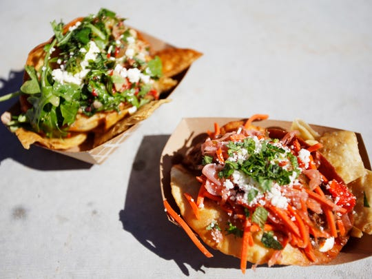 The chicken tinga taco, right, and potato taco from the Belly Up food truck September 30, 2016.