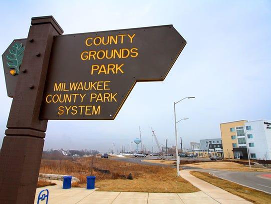 A Milwaukee County Grounds sign near the new Marriott