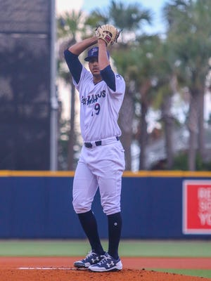 Blue Wahoos pitcher Jose Lopez (19), who try and help team end four-game losing streak Tuesday, struck out eight of the first nine Chattanooga batters he faced at Admiral Fetterman Field on July 11,