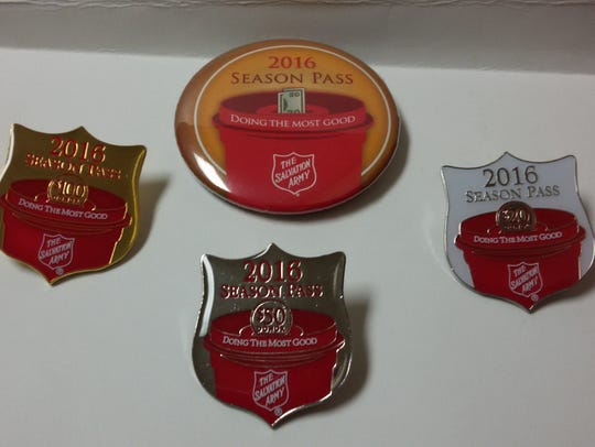 Salvation Army season pass buttons and pins are available