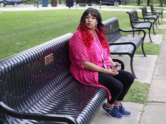 Barbara Fleming, an Army veteran, sits on a bench inside of Tower Park, near the Ft. Thomas Division of the Cincinnati VA Medical Center where she is taking part in a residential treatment program for PTSD. Fleming spent 13 years serving in the Army where she spent time in the Persian Gulf and Somalia.