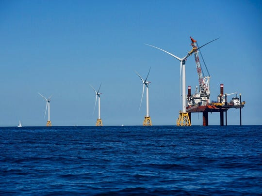 Offshore wind turbines placed by Deepwater Wind off the coast of Block Island, Rhode Island.