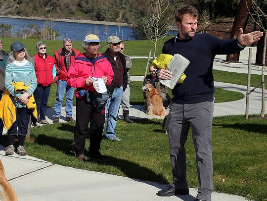 Josh Farley on a story walk tour of Evergreen Park.