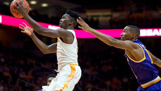 Tennessee's Kwe Parker gets past Tennessee Tech's Curtis Phillips Jr. at Thompson-Boling Arena on Tuesday, December 13, 2016. Tennessee defeats Tennessee Tech 74-68.