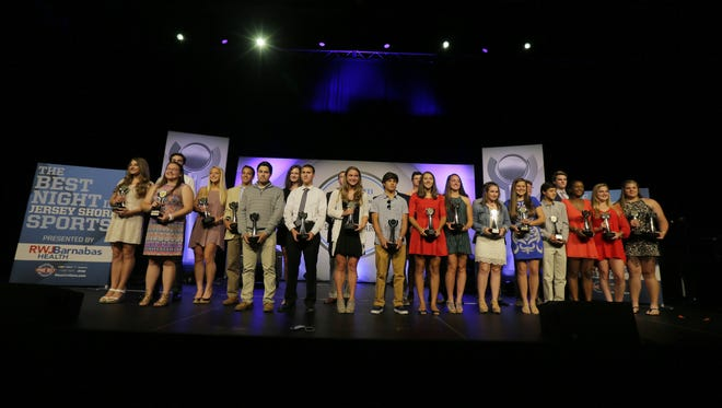 Award winners line the stage after the Asbury Park Press Jersey Shore Sports Awards at the MAC on the campus of Monmouth University in West Long Branch, NJ Monday June 13, 2016.