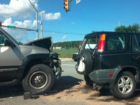 Route 30 eastbound traffic was down to one lane following a crash near North George Street late Wednesday afternoon.