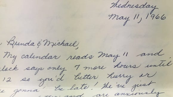 The start of a letter written by the column writer's Uncle Tony to his sister, the column writer's mom,  two days before she was to give birth.