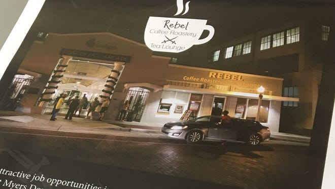 A rendering shows the forthcoming Rebel Coffee Roastery which plans to open in downtown Fort Myers by June.
