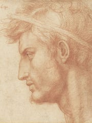 """Study for the Head of Julius Caesar,"" drawn in 1520 or 1521 by Andrea del Sarto of Florence, Italy."